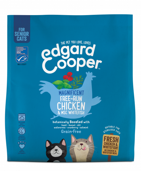 Edgard & Cooper Senior Kattenvoer Verse Witvis MSC met Basilicum en Dille 1.75 kg