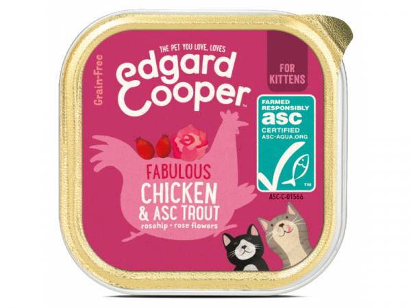 Edgard & Cooper Kitten Kuipjes Kip en ASC-Forel 19 x 85 gram
