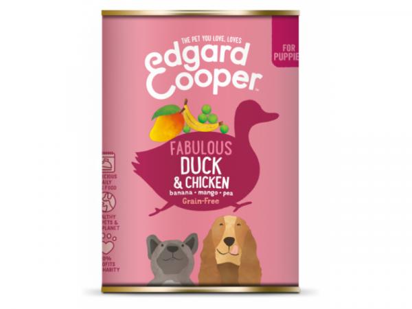 Edgard & Cooper Puppy Blikjes Eend en Kip 6 x 400 gram